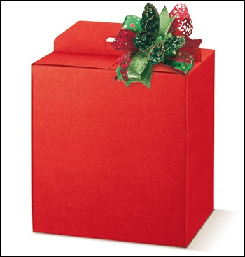 Geschenkverpackung - Portapanettone + Bott. - Dekor Seta Rosso