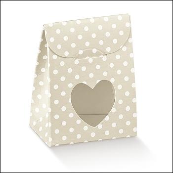Schachtel mit Fenster in Herzform - Sacchetto c/fin. cuore - Dekor Atelier Tortora