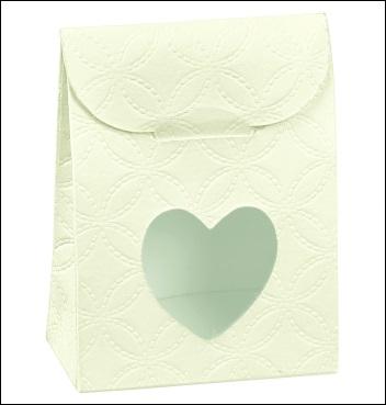 Schachtel mit Fenster in Herzform - Sacchetto c/fin. cuore - Dekor Matelasse Bianco