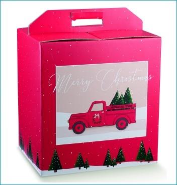 Geschenkverpackung - Portapanettone + Bott. - Dekor Red Pick Up