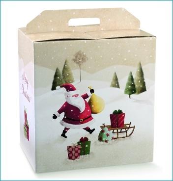 Geschenkverpackung - Portapanettone + Bott. - Dekor Santa Claus SLED