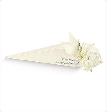 Schachtel Spitztüte - Cono - Dekor Pelle Bianco