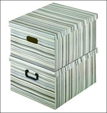 Ordnungsbox mit Plastikgriff - Dekor Righe Grigio