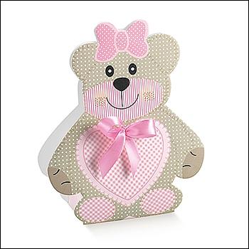 Schachtel - Orsetto Medio - Dekor Teddy Bear Rosa