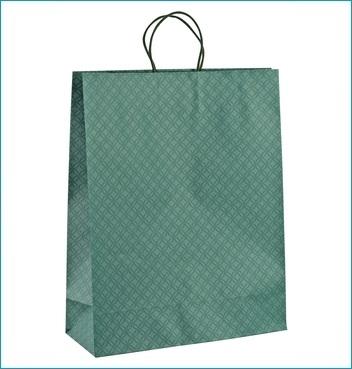 Papiertüte mit Kordel - Shopper Cordino - Dekor Matelasse Eucalipto