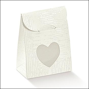 Schachtel mit Fenster in Herzform - Sacchetto c/fin. cuore - Dekor Tela Bianco
