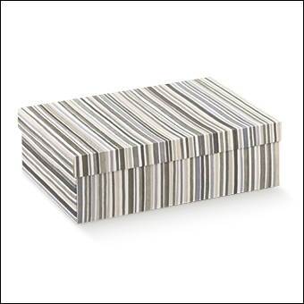 Schachtel mit Deckel - F/C-dp - Dekor Righe Grigio