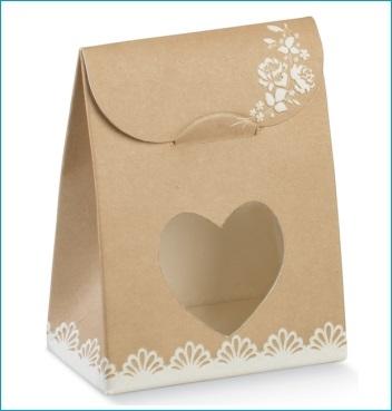 Schachtel mit Fenster in Herzform - Sacchetto c/fin. cuore - Dekor Rose Avana