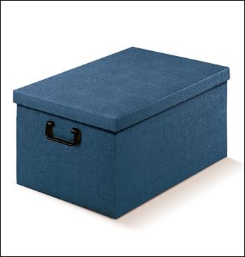 Ordnungsbox mit Plastikgriff - Dekor Juta Blu