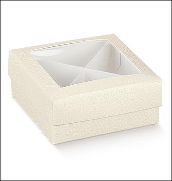 Schachtel mit Deckel - F/C Fin. + Ins. - Dekor Pelle Bianco