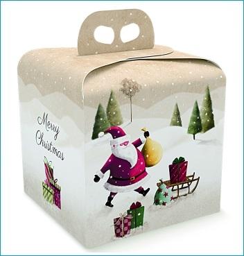 Geschenkverpackung - Portapanettone - Dekor Santa Claus SLED