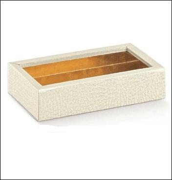 Schachtel mit transp. Schiebedeckel und Einlage - Quadretto + fasc. + ins. - Dekor Pelle Bianco