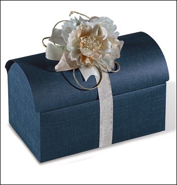 Schachtel Truhe - Cofanetto - Dekor Juta Blu