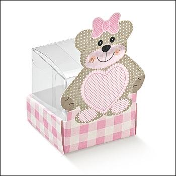Schachtel - Cestello c/sagoma - Dekor Teddy Bear Rosa