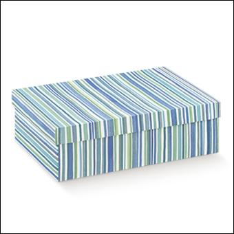 Schachtel mit Deckel - F/C-dp - Dekor Righe Blu