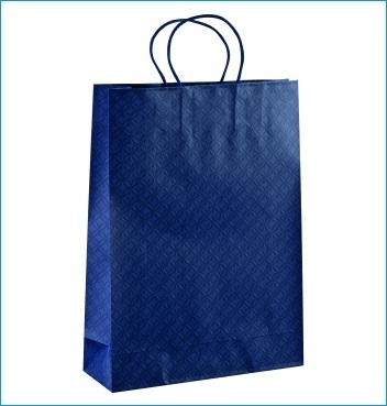 Papiertüte mit Kordel - Shopper Cordino - Dekor Matelasse Blu