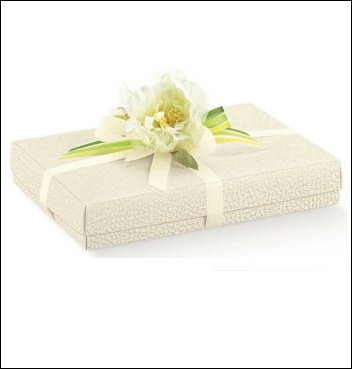 Schachtel mit Deckel und Einlage - Quadretto +cop. + ins. - Dekor Pelle Bianco