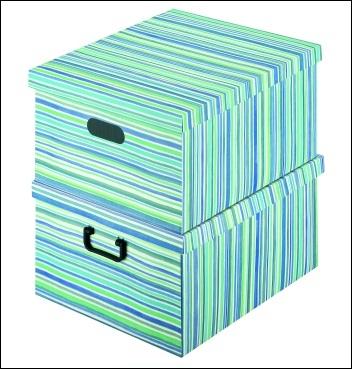 Ordnungsbox mit Plastikgriff - Dekor Righe Blu
