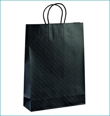 Papiertüte mit Kordel - Shopper Cordino - Dekor Matelasse Nero