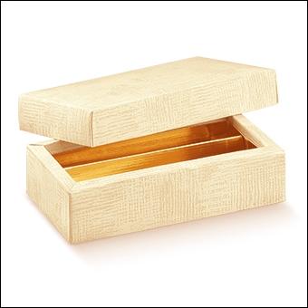 Schachtel mit Deckel und Einlage - Quadretto +cop. + ins. - Dekor Tela Neutro